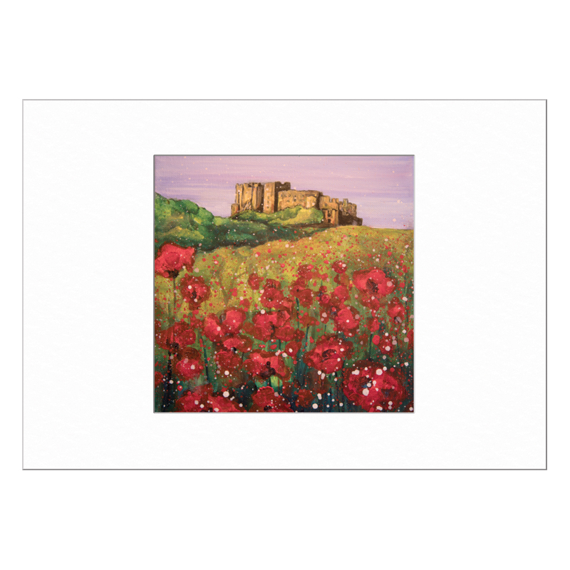Bamburgh Castle Poppies Limited Edition Print 40x50cm
